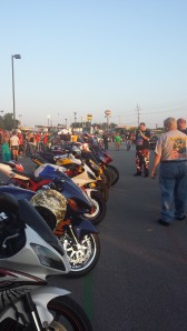 View of Sport Bikes and Crowd